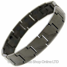 Mens Jet Black TITANIUM Magnetic Bracelet NEW 28 Magnets NdFeB Neodymium Therapy