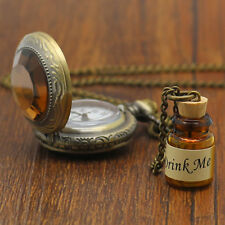 Trendy Fashion Reto Drink Me Wishing Bottle Pendent Pocket Watch Long Necklace