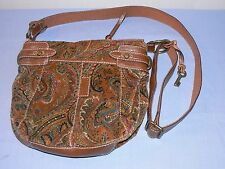 Fossil purse bag shoulder cross body velour fabric brown leather trim paisley