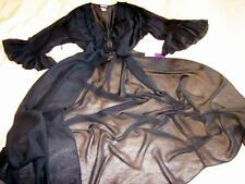 Long Chiffon Robe Black Sheer Frilly Q2 50-60+ bust Dressing Gown Negligee NEW