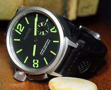 FIRST CLASS! U-BOAT FLIGHT DECK HOMAGE BY PARNIS HANDWIND - LEATHER STRAP