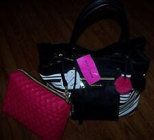 Betsey Johnson BAG IN A BAG Crossbody Tote Purse Bag BLACK/WHITE/FUSHIA ~ $138