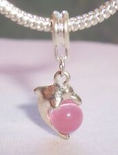 Pink Cat's Eye Dolphin Beach Sea Life Dangle Bead fits European Charm Bracelets