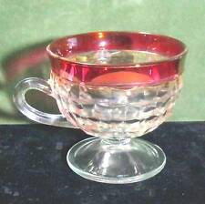 """Indiana Whitehall glass punch cup ruby flashed 3"""" x 3.25"""" B14"""