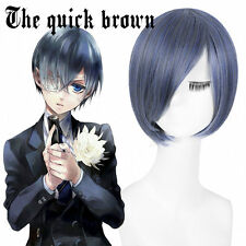 NEW Black Butler Ciel Phantomhive Blue Gray Short Anime Costume Cosplay Wig