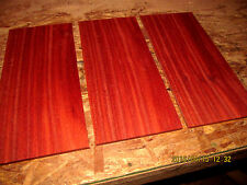 THREE (3) BEAUTIFUL SANDED KILN DRIED THIN PIECES BLOODWOOD 12 X 5 1/2 X 1/4""