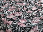 Tony Wenzel black floral cotton fabric half yard cut 1/2 pink