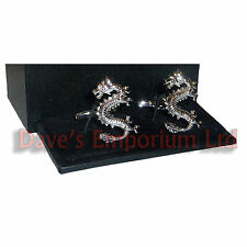 Lucky Chinese Dragon Cufflinks - Gift Boxed - Silver New Year Festival Cuff Link