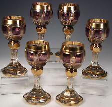 24K Gold Enamel Hand Cut Crystal 6 Goblets Moser