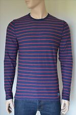 NEW Abercrombie & Fitch Long Sleeve Striped Crew Tee T-Shirt Navy Blue S