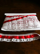 D0VECRAFT New 2inch slight frilled   lace with satin detail £1.60mt new Gingham