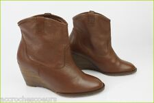 Boots Booties TEXTO Wedge heels Brown Leather T 36 VERY GOOD CONDITION