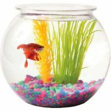 Gold Fish Betta Aquarium Round Plastic Bowl Tank Sturdy Crystal Clear Ideal 1Gal