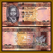 South Sudan 25 Pounds, 2011 P-8 John Garang Gemsbuck Unc