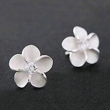 925 Sterling Silver Plum Flower Crystal Ear Stud Pin Earrings Girl Jewelry