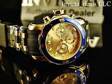Invicta Mens Scuba Pro Diver Swiss Chrono 18K Gold Plated Champagne Dial SS Watc
