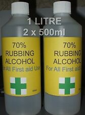 Rubbing Alcohol 70% Isopropyl Isopropanol.First Aid.Top Quality 1 LITRE 2x 500ml