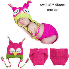 Owl Newborn Baby Girl Boy Crochet Knit Costume  Photography Prop Outfits NEW