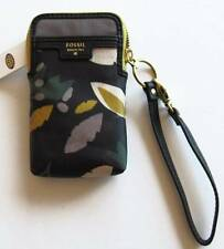 Fossil Black Floral Ivy Carryall Case Wristlet #SWL1325979 NWT