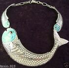 TAXCO MEXICAN STERLING SILVER TURQUOISE FISH NECKLACE MEXICO