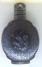 FINE 19 C CHINESE QING LACQUER SILVER GOLD MOTHER OF PEARL INLAID SNUFF BOTTLE 2