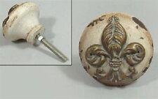 Möbelknopf, Knopf, Griff, Knauf im Antik Look Shabby französische Lilie