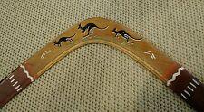 Vtg Hand Carved Australian Aboriginal Wood Boomerang Tralee Station Kangaroo