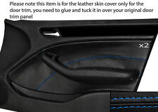 BLUE STITCHING 2X FRONT DOOR CARD TRIM SKIN COVER FITS BMW E46 SALOON 98-05