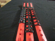 """RED 3pc ABS WITH HANDLE SOCKET TRAY RAILS RACKS 1/4"""" 3/8"""" 1/2"""" SLIDER CLIPS BALL"""