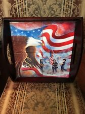 "D Morgan Tile & Wooden Tray 2001 Commemorating 9/11 Serving Tray 12""x14"""