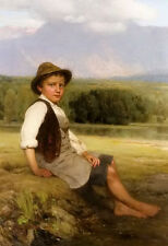 Oil painting johan friederich engel - a young boy in a summer landscape canvas