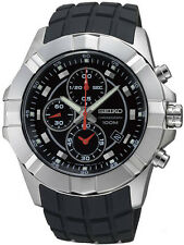 Seiko Lord SNDD73P2 Men's Black Rubber Strap Black Dial Chronograph Watch