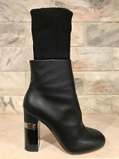 NIB Chanel 16K Black Kangaroo Leather CC High Heel Sock Ankle Boots 37 $1550