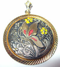 Vintage Toledo Damascene Black Gold BUTTERFLY Flowers Enameled Necklace PENDANT
