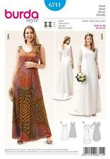 BURDA SEWING PATTERN MISSES' WEDDING EVENING  DRESS PLUS SIZE 18 - 32 6711