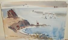 "ROLAND HAAS ""PIRATES COVE"" ORIGINAL WATERCOLOR SAIL BOAT SEASCAPE PAINTING"