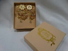Kirks Folly Earrings Sun Face Gold Tone Clip-ons NEW