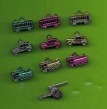 1940's Cracker Jack Metal Charms - Lot 10 -- Train, Trolly, car (all 3 colors) +