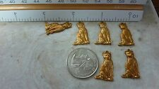 Brass castings findings SITTING KITTY CAT charm  A 302