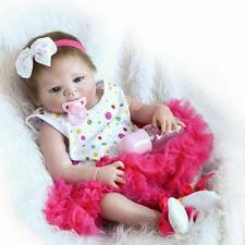"22"" Full Body Silicone Vinyl Reborn Baby Realistic Newborn Girl Doll Bathe Toy"
