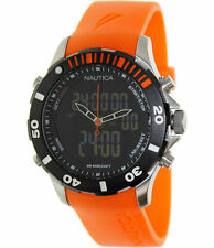 NEW Nautica Mens BFD Analog & Digital Chronograph SS Orange Rubber Band Watch