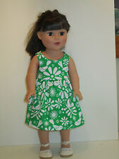 """Birds & Flowers/Green Sundress for 18"""" Doll Clothes American Girl"""