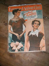 Femmes d'aujourd'hui N° 322 1951  Mode vintage  patrons Couture Broderie Robe