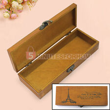 Personalized Eiffel Tower Wooden Vintage Pencil Case Pen Holder Boxes Stationery