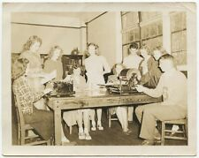 SCHOOL NEWSROOM W/ 10 STUDENTS, OXFORD SHOES   LETTER SWEATER VINTAGE PHOTO
