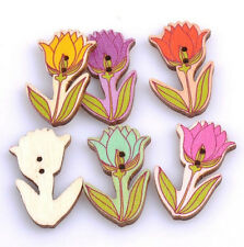 DIY 20X Flowers Tulip Wooden Buttons Sewing Scrapbooking Exquisite 2Holes 40mm