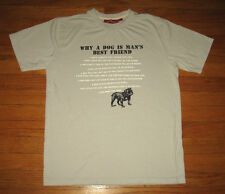 """WHY DOG IS MAN'S BEST FRIEND"" Tee, Men's Size SMALL, Gray Tee w/ FUNNY REASONS"