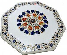 """30"""" Marble Coffee Dining Table Top Lapis Inlay Pietredure Mosaic Patio Decor"""