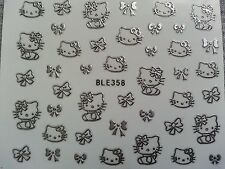 Hello Kitty 3D Design Nail Stickers Silver