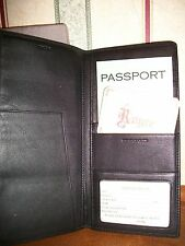 NEW Royce Black Nappa Leather Checkpoint Bi-Fold Passport Wallet- (RFID)